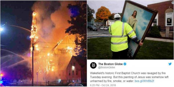 Jesus Painting 'Miraculously' Survives Fire That Destroyed 150-Year-Old Church (Photos)